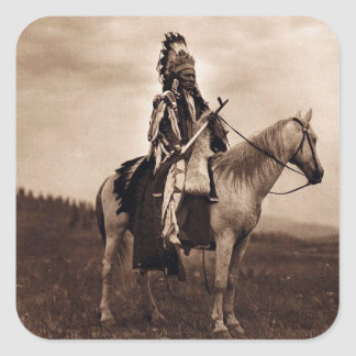 Vintage Plains Indian War Chief Square Sticker