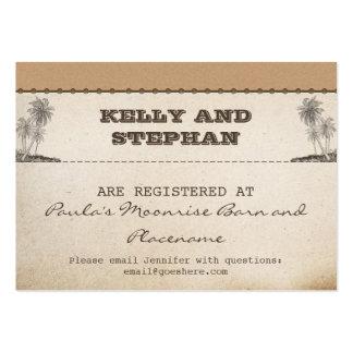 vintage plams wedding registry tickets large business card