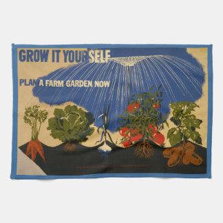"Vintage ""Plan a Garden"" WPA Kitchen Towel"