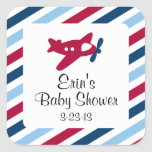 Vintage Plane Airmail Square Stickers