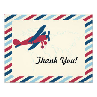 Vintage Plane Airmail Thank you Announcement