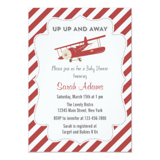 Vintage Plane Baby Shower Invitation Red