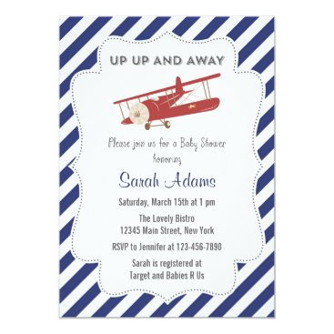 Toddler & Baby themed Vintage Plane Baby Shower Invitation Red and Blue