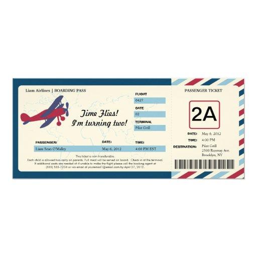 Vintage Plane Birthday Boarding Pass Ticket 4x9.25 Paper Invitation Card