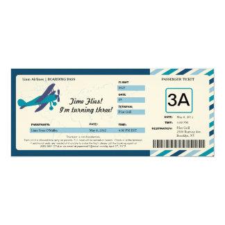 Vintage Plane Birthday Boarding Pass Ticket Card