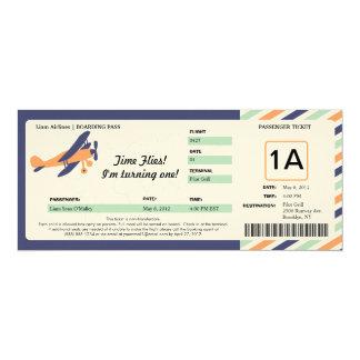 Vintage Plane Birthday Boarding Pass Ticket Invites