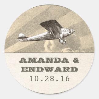 vintage plane destination wedding stickers seals