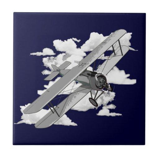 Vintage Plane Small Square Tile