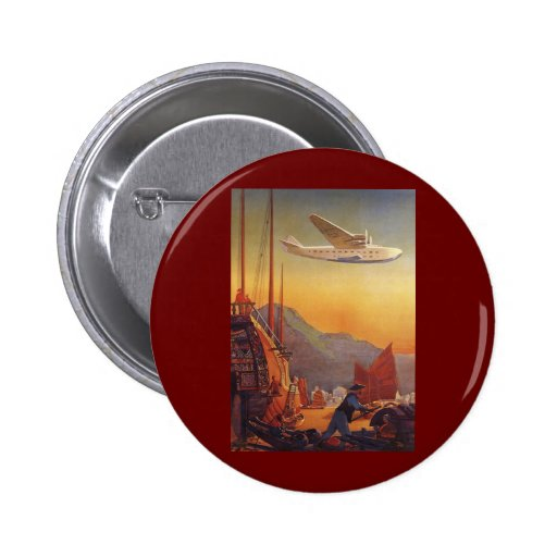 Vintage Plane Traveling on Vacation in the Orient Pins