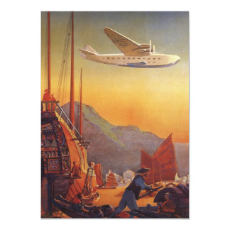 """Vintage Plane Traveling on Vacation in the Orient 5"""" X 7"""" Invitation Card"""