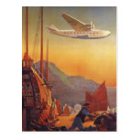 Vintage Plane Traveling on Vacation in the Orient Post Card
