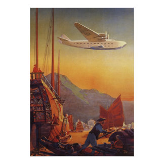 Vintage Plane Traveling on Vacation in the Orient Poster