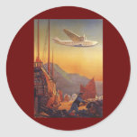 Vintage Plane Traveling on Vacation in the Orient Round Stickers