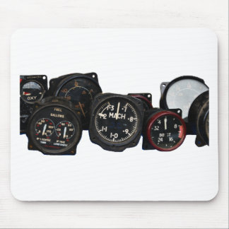 Vintage plane WWII flying dials displays Mouse Pad