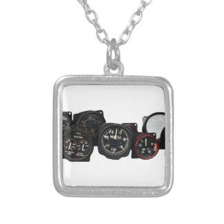 Vintage plane WWII flying dials displays Silver Plated Necklace