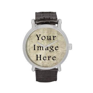 Vintage Plaster Brown Beige Tan Parchment Paper Wristwatch