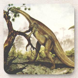 Vintage Plateosaurus Dinosaur Grazing on Trees Drink Coaster
