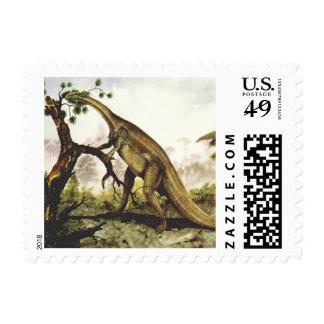 Vintage Plateosaurus Dinosaur Grazing on Trees Postage Stamps