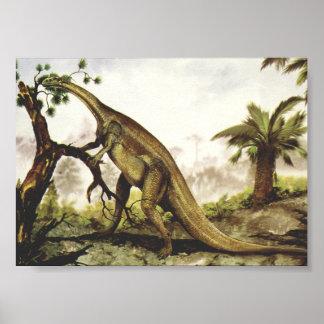 Vintage Plateosaurus Dinosaur Grazing on Trees Poster