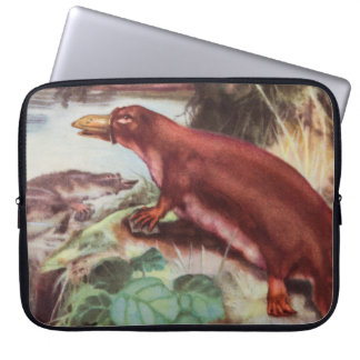 Vintage Platypus Illustration, Animal Drawing Laptop Sleeve