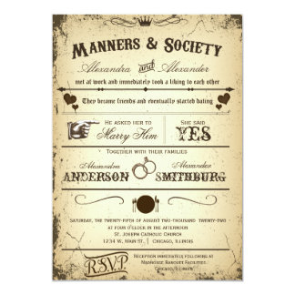 Vintage Playbill Storyline Formal Wedding Invite 2