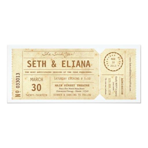 Vintage Playbill Ticket Wedding Invitation