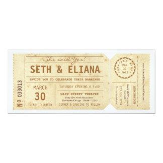 "Vintage Playbill Ticket Wedding Invitation 4"" X 9.25"" Invitation Card"