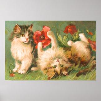 Vintage Playful Kittens Print print