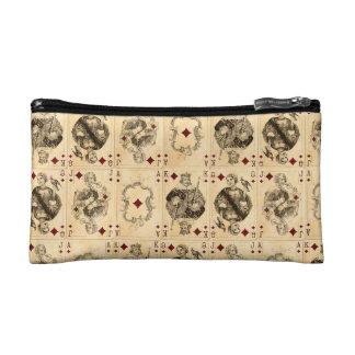 Vintage Playing Cards Ace Queen King Jack Collage Makeup Bag