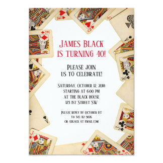 Vintage Playing Cards Birthday Party Invitation
