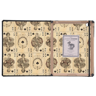 Vintage Playing Cards Collage Ace Queen King Jack Cover For iPad