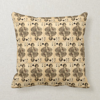 Vintage Playing Cards Collage Jack Spades Pillows