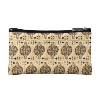 Vintage Playing Cards Collage King Spades Cosmetic Bag