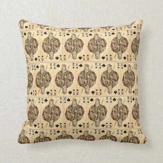 Vintage Playing Cards Collage King Spades Throw Pillow