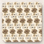 Vintage Playing Cards Collage Queen Spades Beverage Coaster