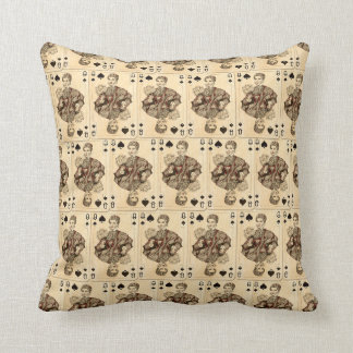 Vintage Playing Cards Collage Queen Spades Throw Pillow