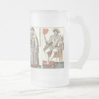 Vintage Playing Cards - Kings and Queens of Hearts 16 Oz Frosted Glass Beer Mug
