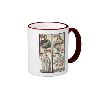 Vintage Playing Cards - Kings and Queens of Hearts Ringer Coffee Mug