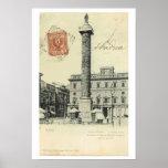 Vintage plaza Colonna, 1901 de Italia, Roma Poster