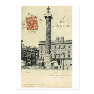 Vintage plaza Colonna, 1901 de Italia, Roma Tarjeta Postal