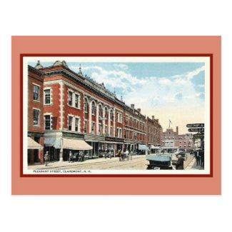 Vintage Pleasant Street Claremont NH Postcard