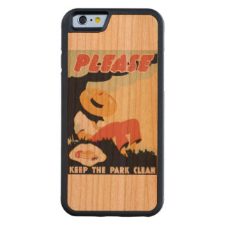 Vintage Please Keep the Park Clean WPA Poster Carved Cherry iPhone 6 Bumper Case