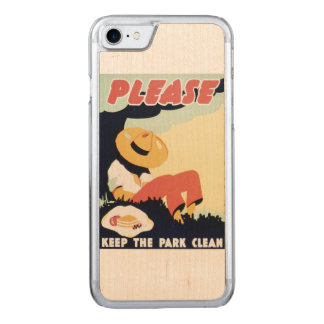 Vintage Please Keep the Park Clean WPA Poster Carved iPhone 7 Case