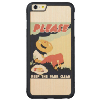 Vintage Please Keep the Park Clean WPA Poster Carved Maple iPhone 6 Plus Bumper Case