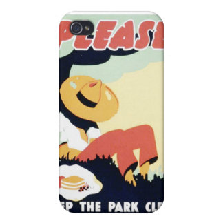 Vintage Please Keep the Park Clean WPA Poster iPhone 4 Cover