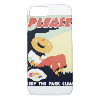 Vintage Please Keep the Park Clean WPA Poster iPhone 7 Case