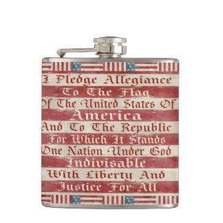 Vintage Pledge Of Allegiance Hip Flasks