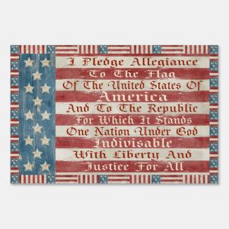 Vintage Pledge Of Allegiance Yard Sign