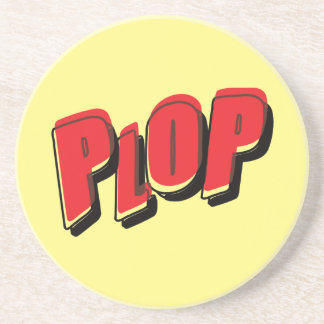 Vintage Plop Comic Sound Effect Drink Coaster