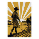 Vintage Plow Girl Poster Print